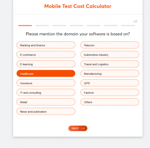 How much does testing cost (test cost calculator) screen 1
